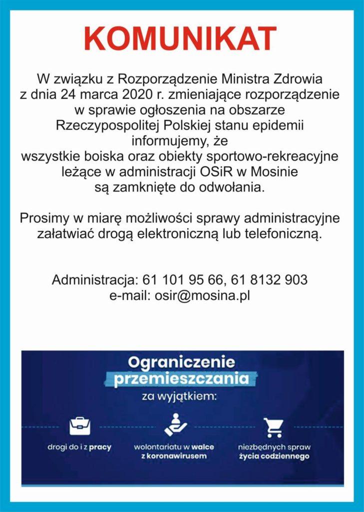 Komunikat 2 Ośrodka Sportu i Rekreacji w Mosinie