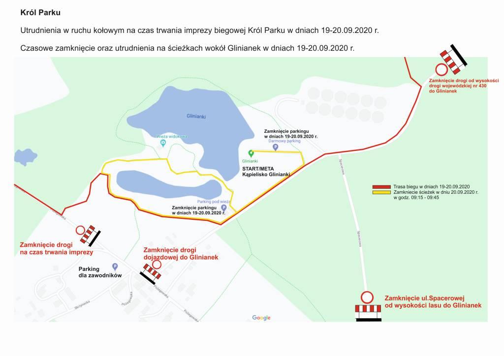 Utrudnienia w ruchu kołowym oraz poruszanie się po ścieżkach wokół Glinianek na czas trwania Króla Parku