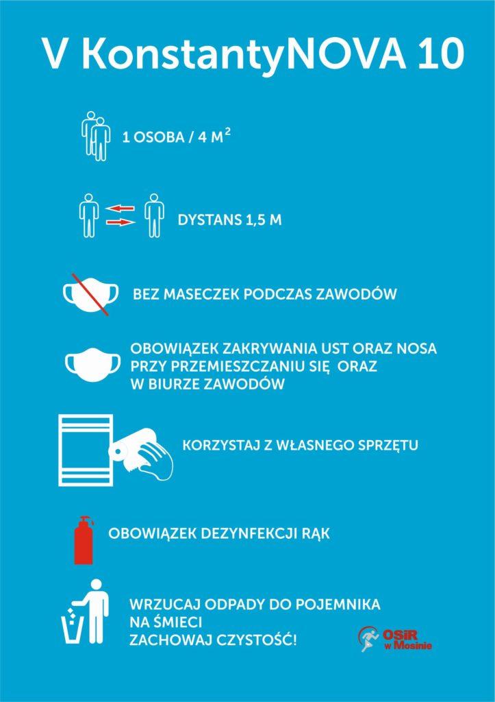 Aktualne zasady obowiązujące podczas trwania zawodów - V KonstantyNOVA 10