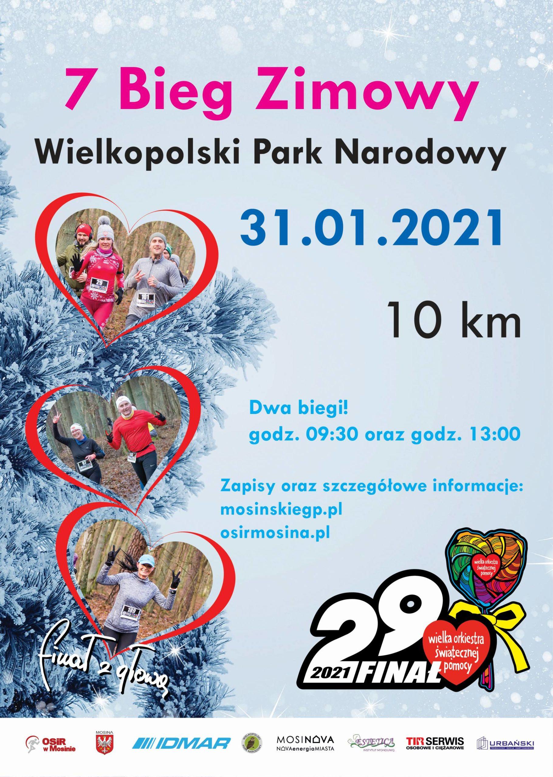 Plakat informujący o 7 Biegu Zimowym
