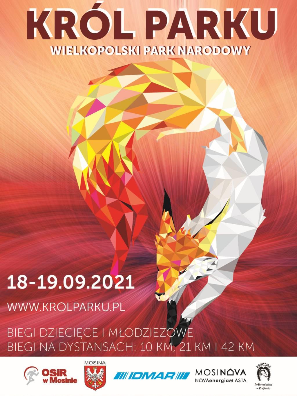Plakat informacyjny na temet biegów w ramach Festiwalu Biegowego Król Parku