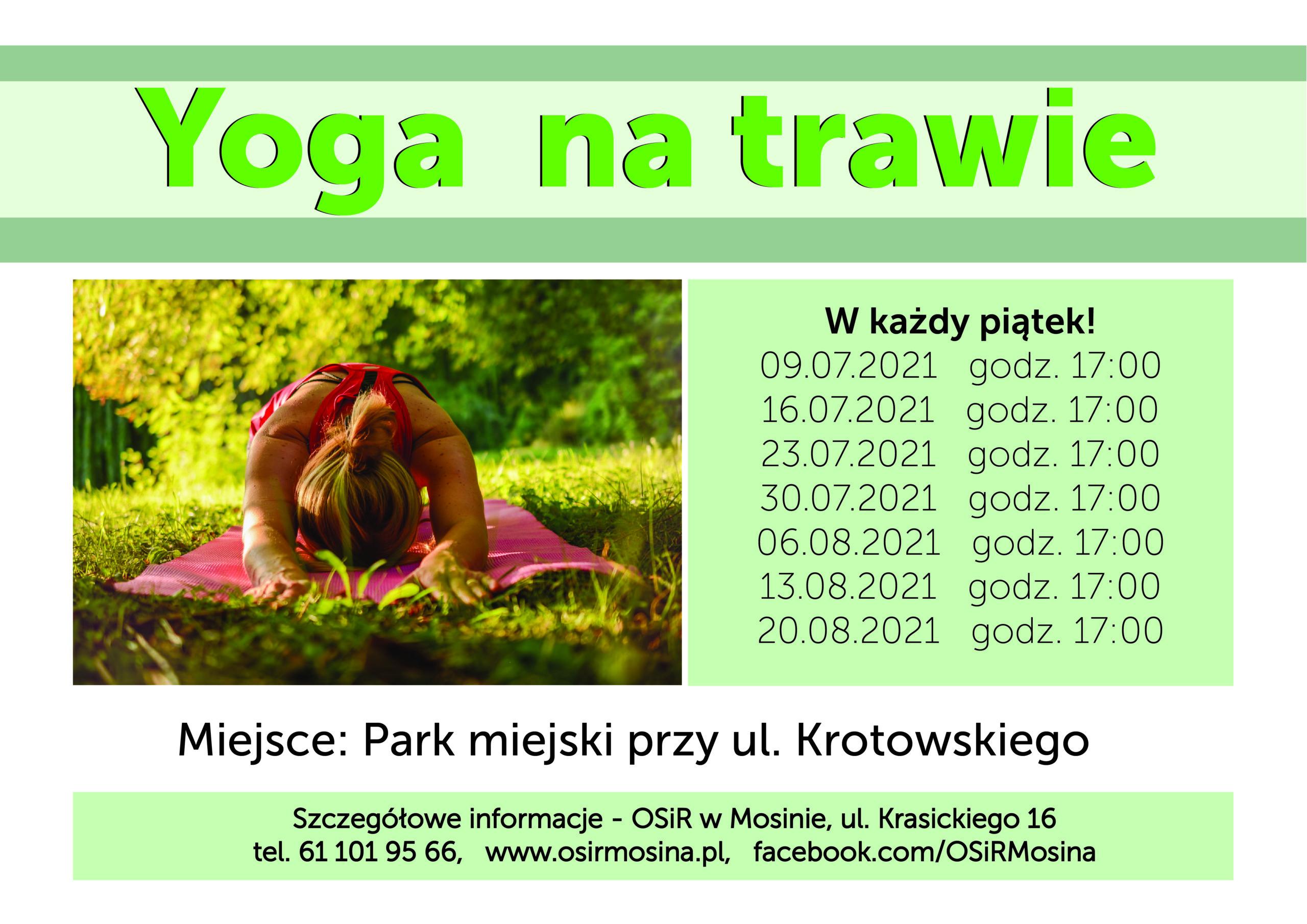 Informacje dotyczące zajęć z jogi, które odbywają się w parku miejskim przy ul. Krotowskiego