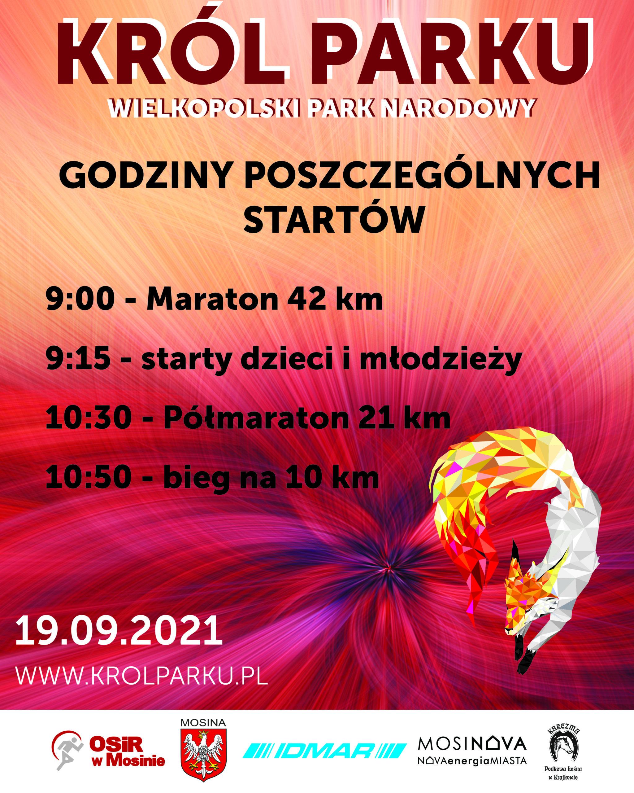 Godziny poszczególnych startów na biegu Król Parku w dniu 19 września 2021 roku