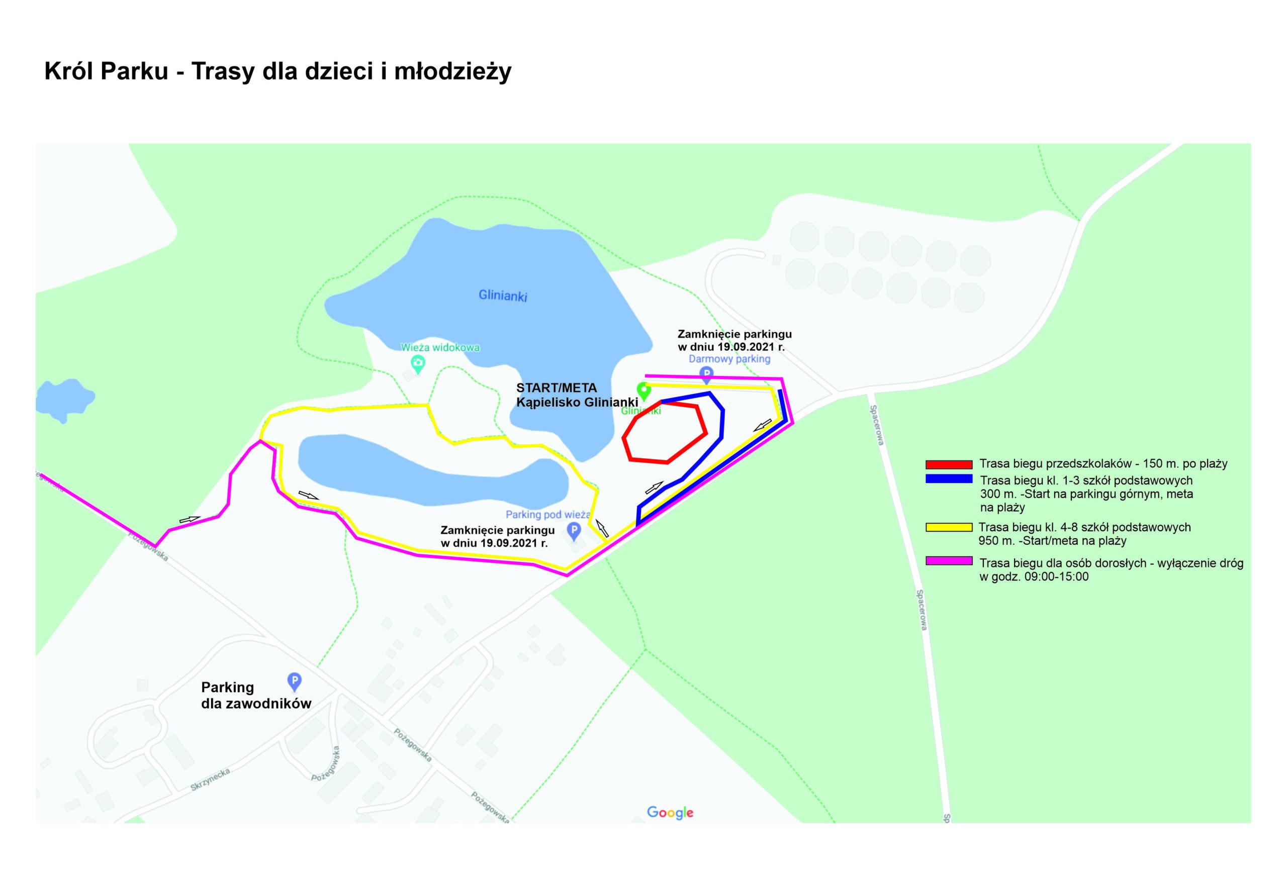 trasy dla dzieci i młodzieży wokół Glinianek na bieg król parku w dniu 19 wrzesnia 2021 roku